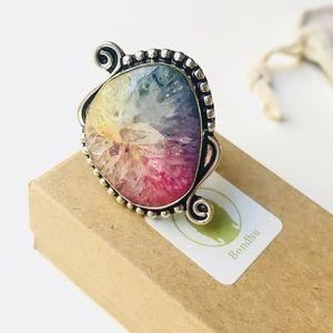 SOLD - Rainbow Solar Quartz Sterling Silver Ring